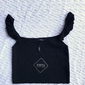 2/$20 NWT black Zaful crop top with flounce strap
